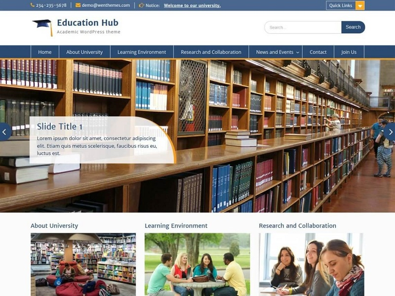 Education Hub Free Education WordPress Themes