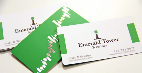 Emerald-Tower-Foil-Stamped-Silk-Business-Cards