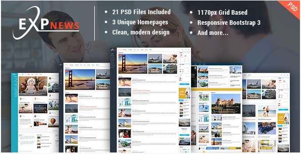 ExpNews - News & Magazine PSD Template