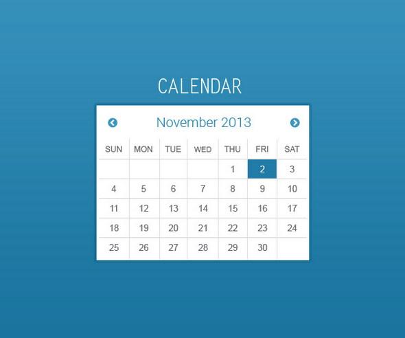 Flat Calendar PSD Template
