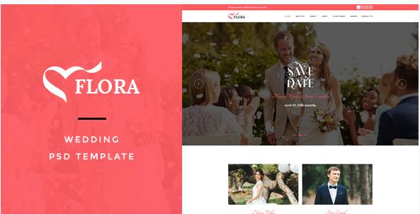 Flora  Wedding PSD Template
