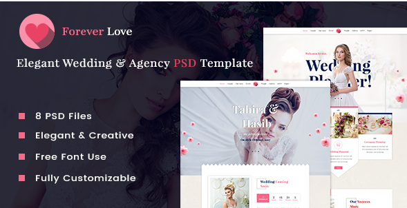 Forever Love  Elegant Wedding & Agency PSD Template