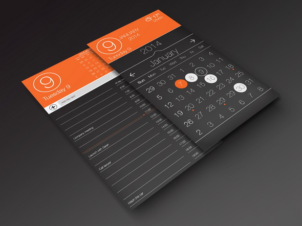 (Free PSD) Calendar app ui, task page.