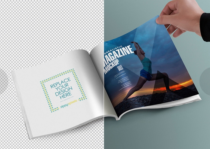 Free-Square-PSD-Magazine-Mockup-With-Customizable-Inner-Page-Design