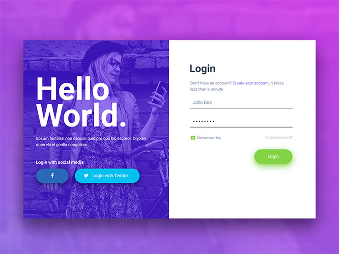 Hello World Login & Registration Form