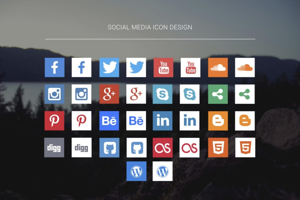 Hover Social Icons Free Flat Icons