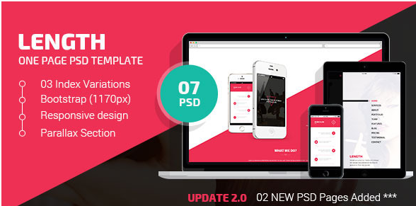 Length  One Page PSD Template
