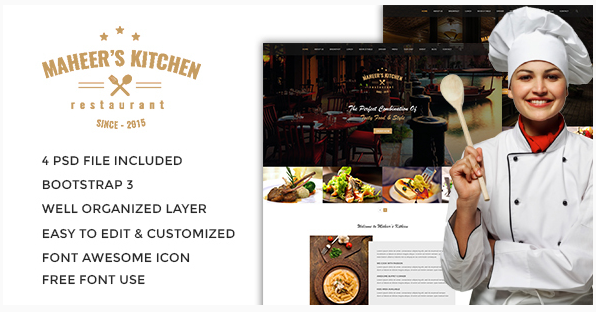Maheer's Kitchen One Page Restaurant PSD Template