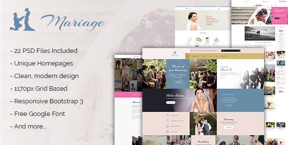 Mariage - Business & Wedding PSD Template