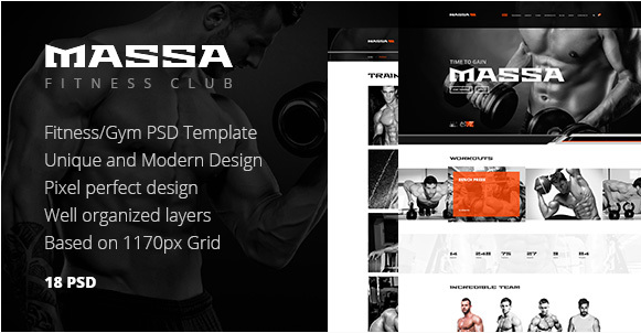 Massa — FitnessGym Sports Blog PSD Template