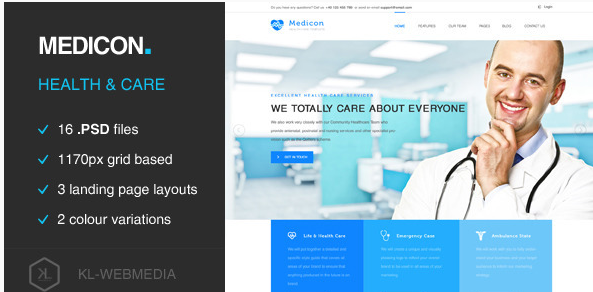 Medicon - Health Care PSD Template