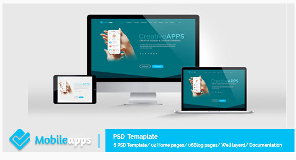 MobileApps - Landing Page - PSD Template
