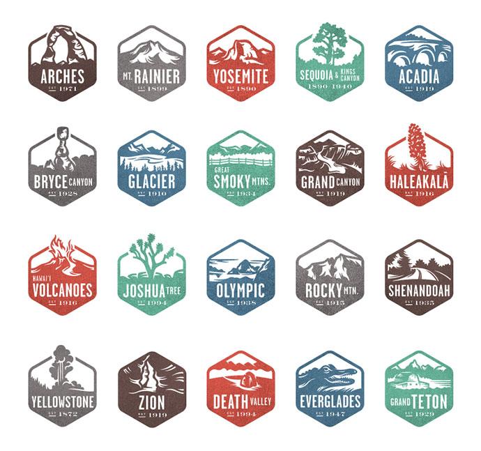 National Park Stamps by Valerie Jar