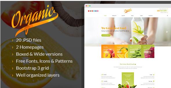 Organic - Farm, Garden and Agriculture PSD Template