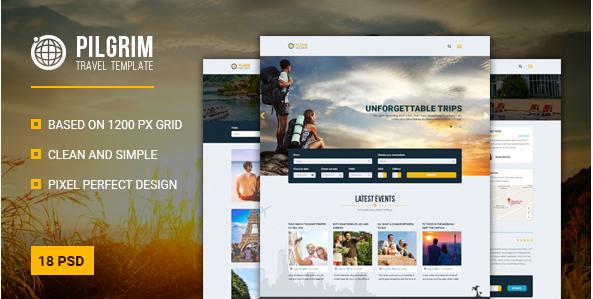 Pilgrim — Travel Agency Tour Operator Travel Booking PSD Template
