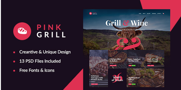PinkGrill — Restaurant & Cafe PSD Template