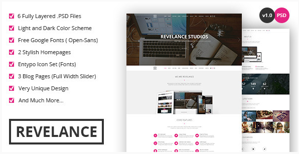 Revelance - OnePage PSD Theme