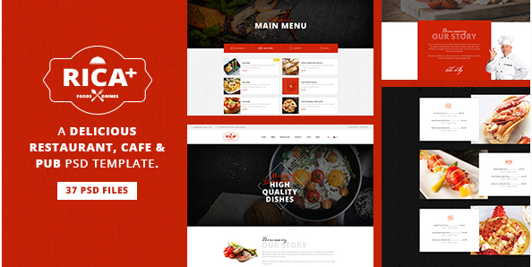 Rica Plus - A Delicious Restaurant, Cafe & Pub PSD Template