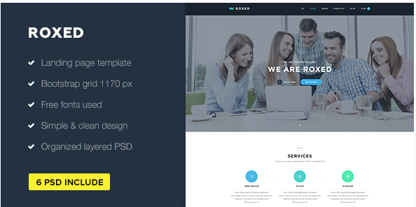 Roxed — Landing Page PSD Template