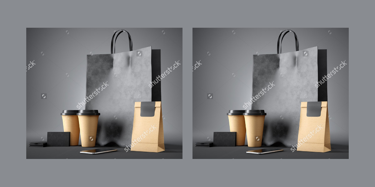 Set of Black Shopping Bags with Coffee Cups