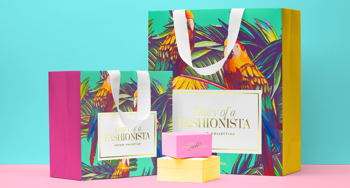 Shopping Bags with Two Boxes Mockup
