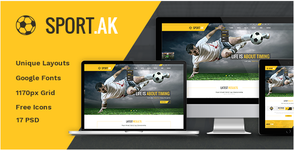 SportAK — Soccer Club and Sport PSD Template