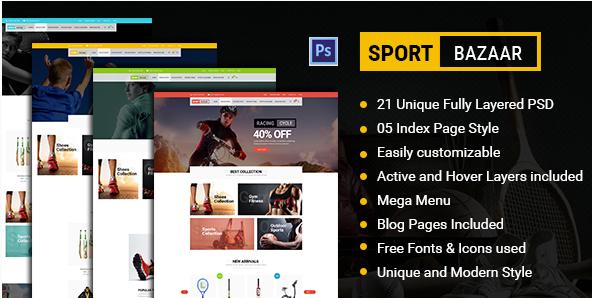 Sports Bazaar - Sports Ecommerce PSD Template