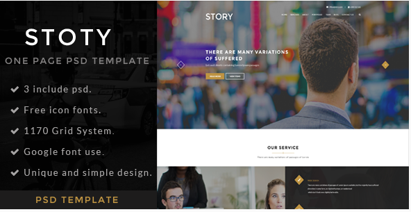 Story  One page PSD Template