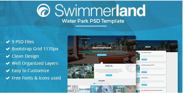 Swimmerland - Water Park PSD Template