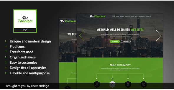 ThePhantom - Landing Page PSD Template