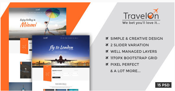 Travel On - Modern PSD Template for Travel Related Businesses