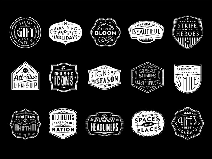USPS Holiday Badges by Seth Nickerson