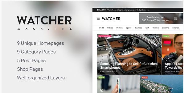 Watcher – Magazine PSD Template