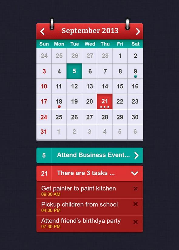 iOS Calendar UI Elements