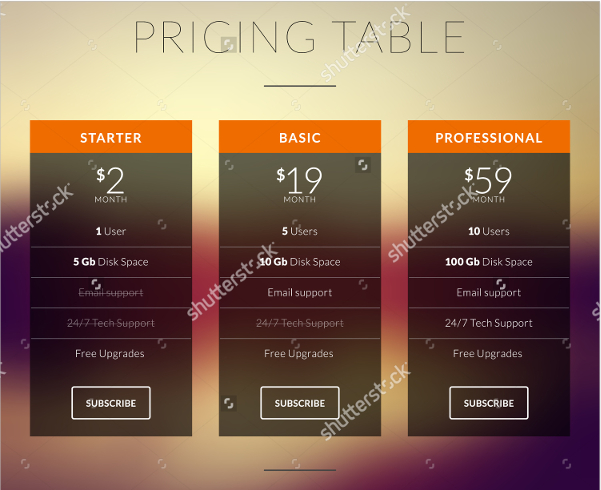 pricing table for websites