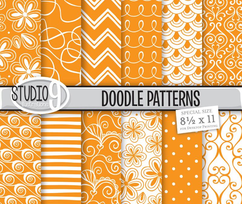 12-Orange-Pattern-Doodles-Background