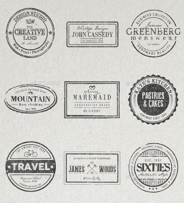 20 Stamped Logos (Photoshop & Illustrator)