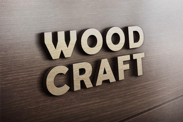 3D Wooden Logo MockUp