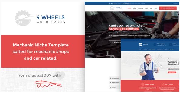 4 Wheels - Mechanic Shop PSD Template