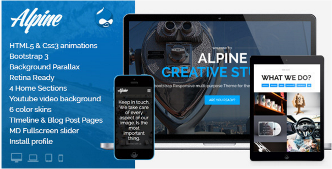 Alpine - Responsive One Page Parallax Drupal Theme