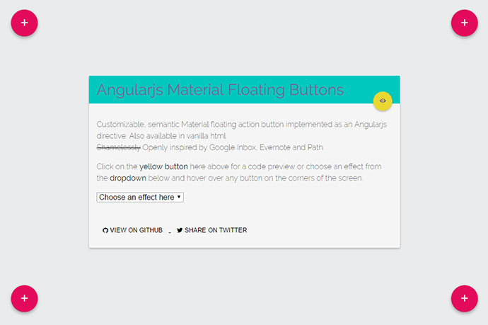 Angularjs Material floating button directive