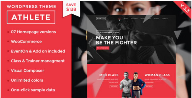Athlete - Fitness, Gym and Sport WordPress theme
