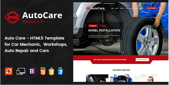 Auto Care - HTML5 Template for Car Mechanic, Workshops, Auto Repair Centers