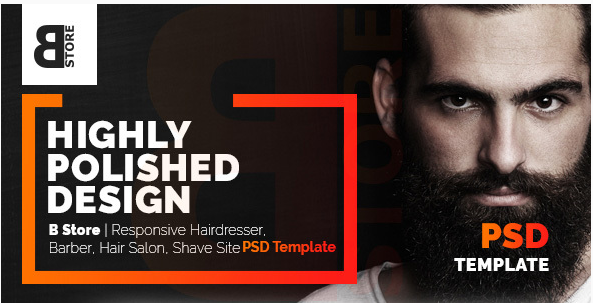 B Store Responsive Barbers & Hair Salons PSD Template - Clean and Smart!