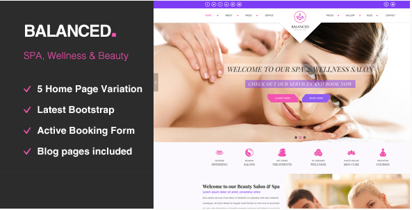 BALANCED Spa  HTML template For SPA, Wellness & Beauty