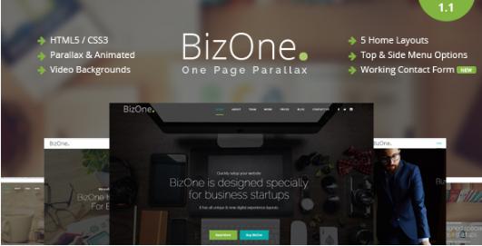 BIZONE HTML5 One Page Website Templates