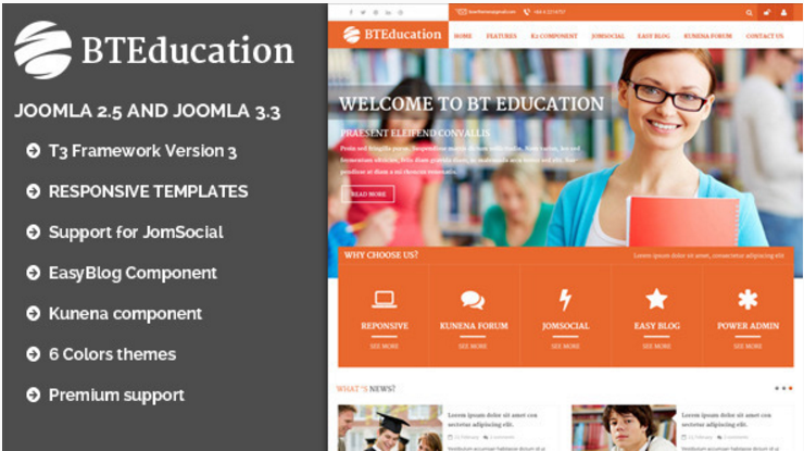 BT Education Responsive template for Joomla
