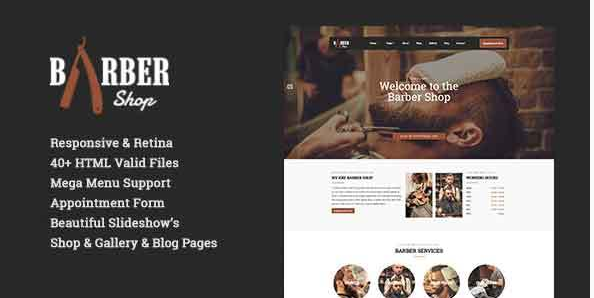 Barber Shop  Responsive Hairdresser, Barber, Hair Salon, Shave Site Template