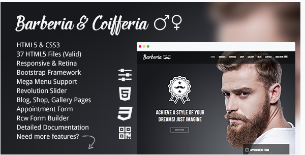 Barberia  Barber Hair Salon Responsive Template
