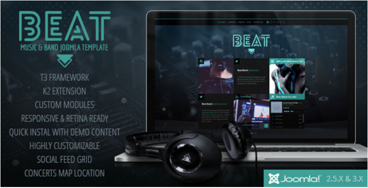 Beat - One Page Music & Band Joomla Template